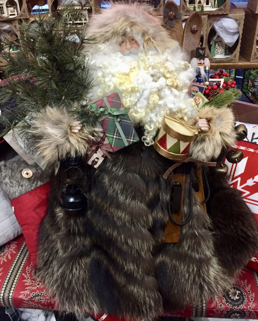 hand-crafted Father Christmas, raccoon fur, woolen beard, bag of gifts, christmas tree, fur hood.
