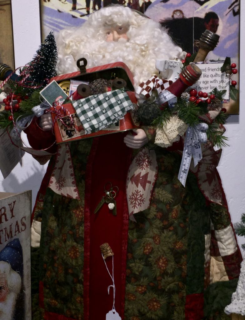 hand-crafted Father Christmas, fur, woolen beard, bag of gifts, christmas tree, fur hood, qulited santa